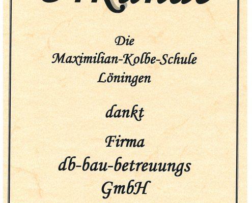 Urkunde Maximilian-Kolbe-Schule