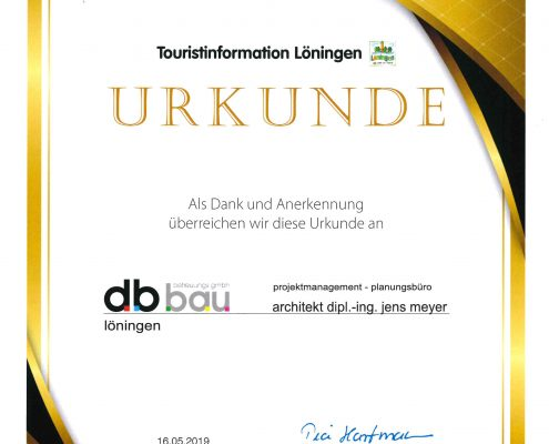 Urkunde Touristinformation Löningen